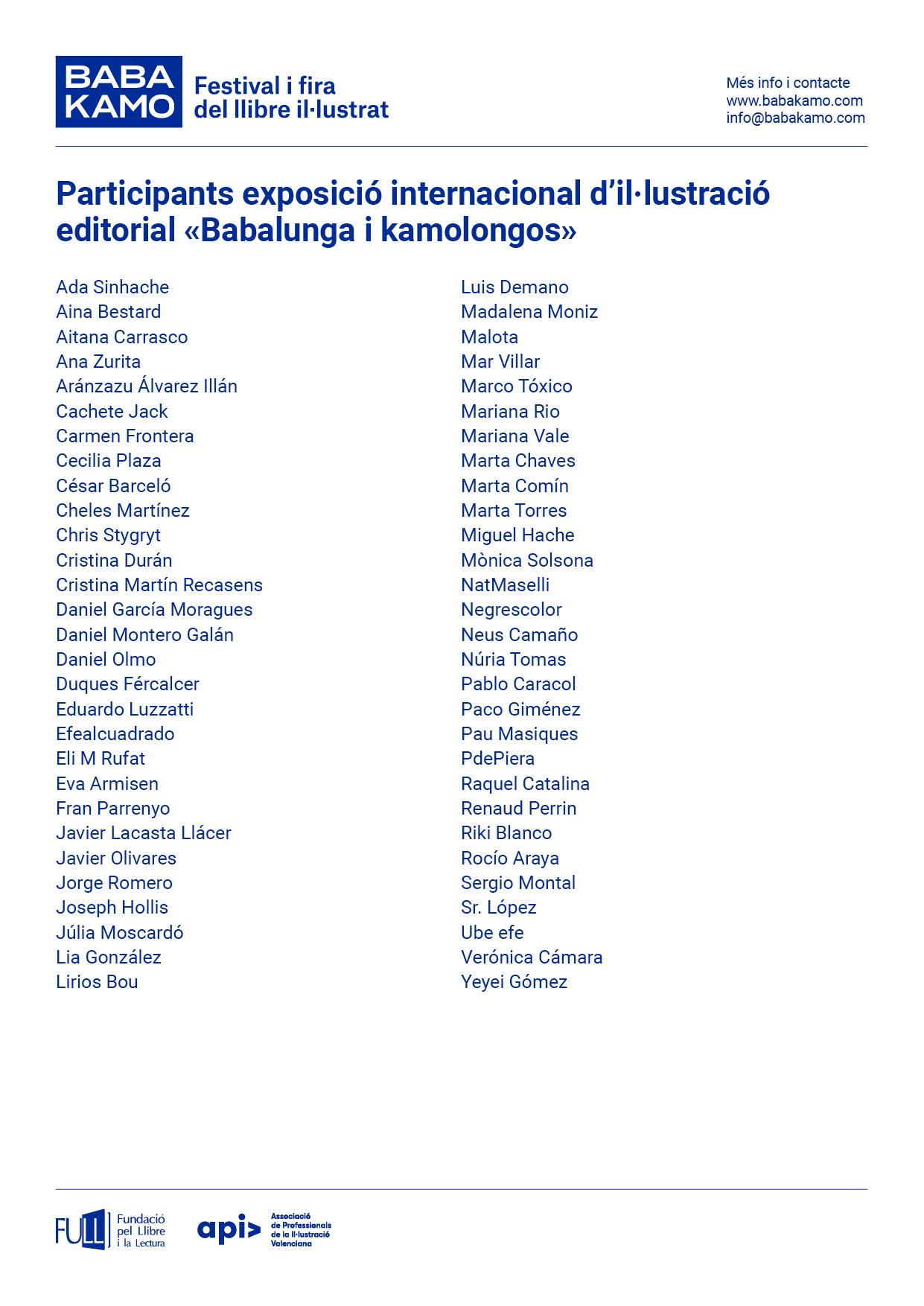 Participants exposició d'il·lustració editorial «Babalunga i Kamolongos»