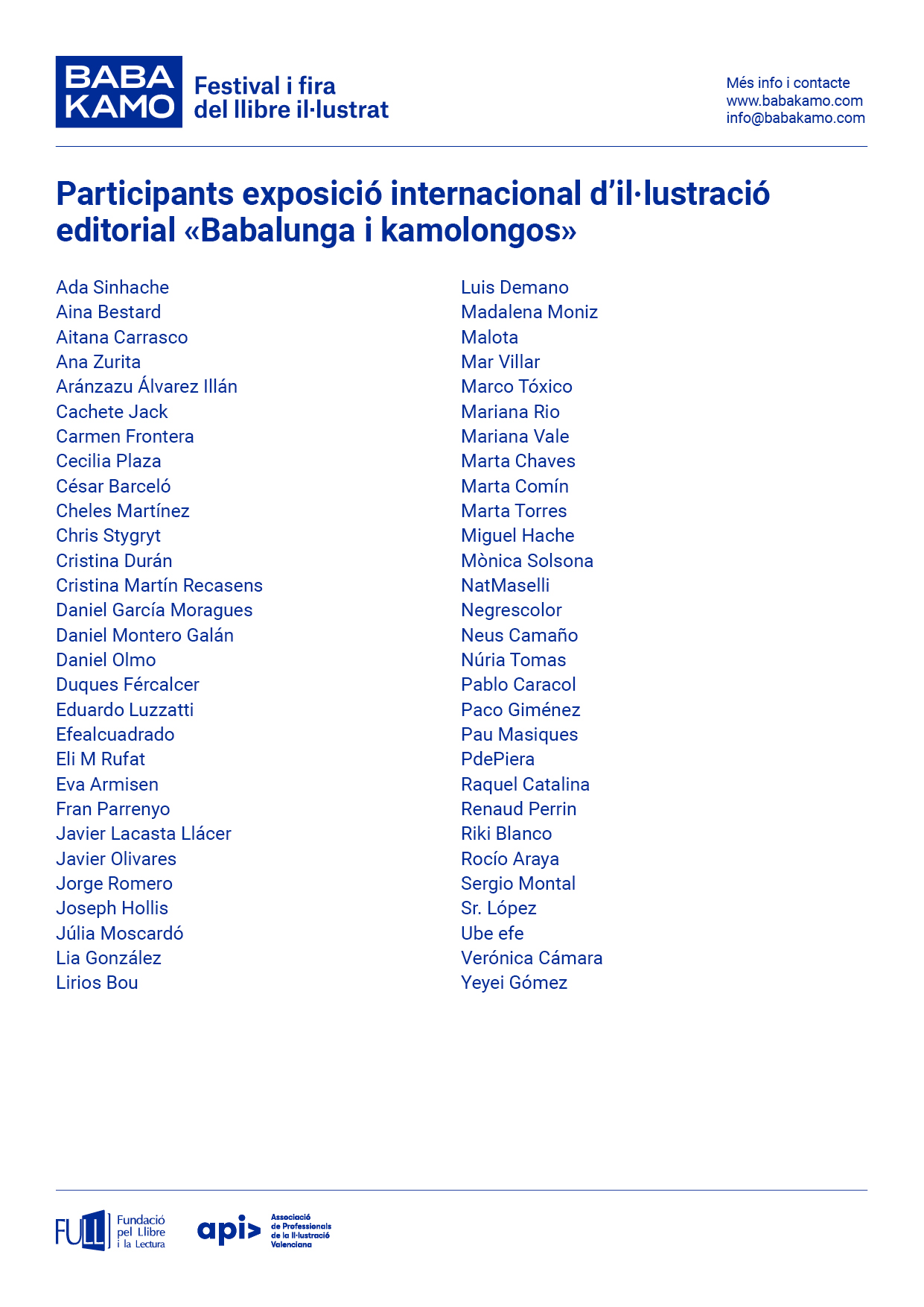 Participantes exposición de ilustración editorial «Babalunga i Kamolongos»